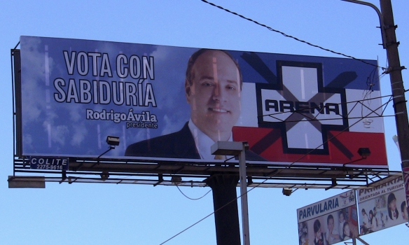 """ARENA's presidential candidate is shown here with the party's slogan, """"Vote with wisdom."""""""