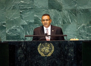 Salvadoran President Mauricio Funes before the United Nations General Assembly