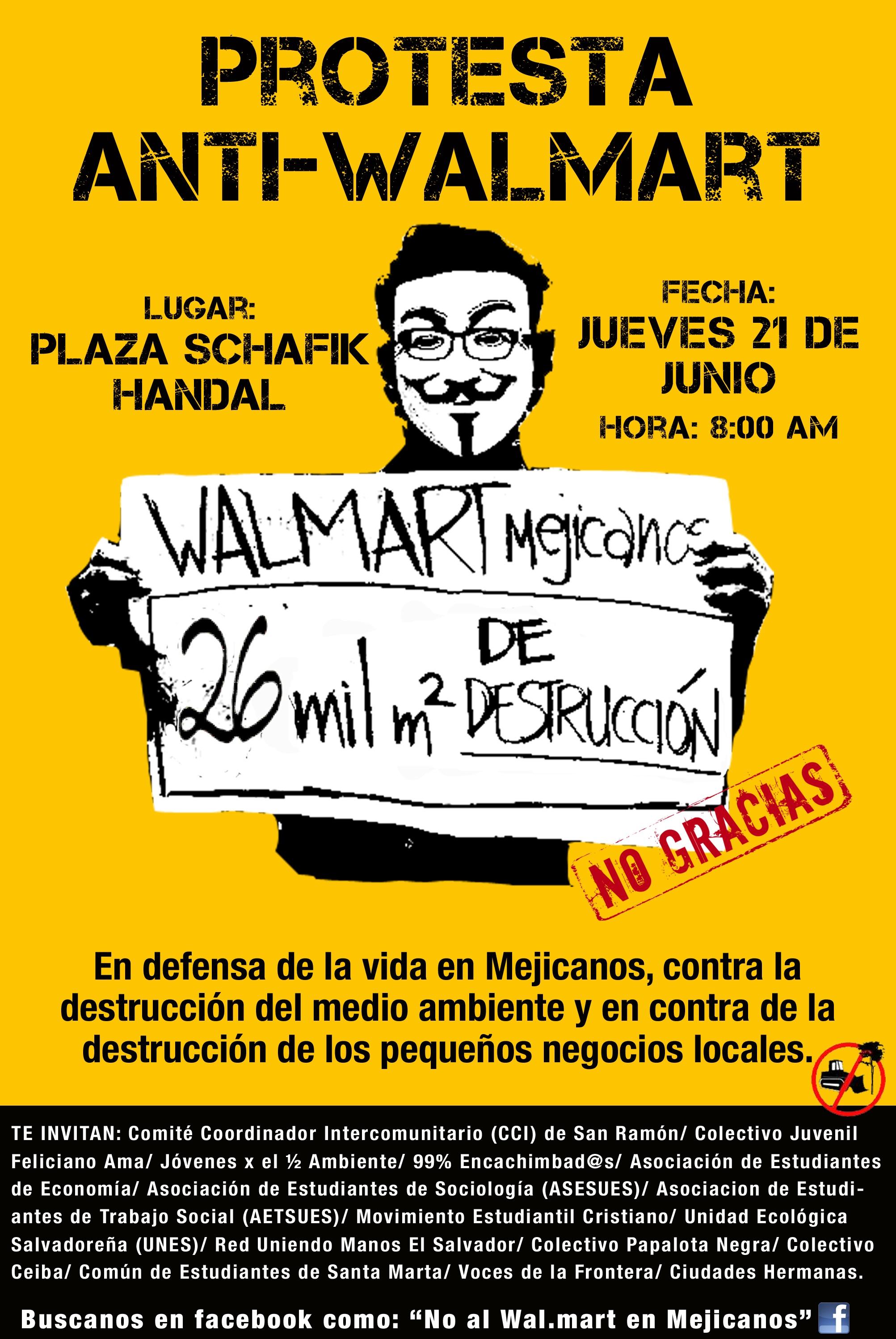 Protest Against Walmart in Mejicanos, El Salvador Next Thursday