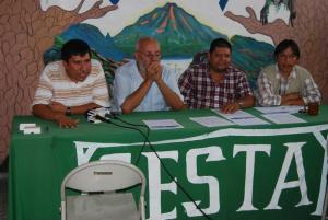 Jose Acosta (Voices' Field Director) speaking at a press conference with Ricardo Navarro (CESTA), Jose Santos Guevara (ACUDESBAL), and Manuel Calderón (ADIBAL)